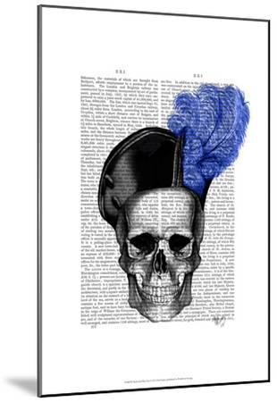 Skull with Blue Hat-Fab Funky-Mounted Art Print
