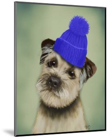 Border Terrier with Blue Bobble Hat-Fab Funky-Mounted Art Print