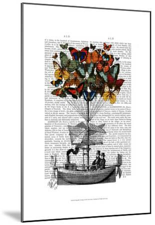 Butterfly Airship-Fab Funky-Mounted Art Print
