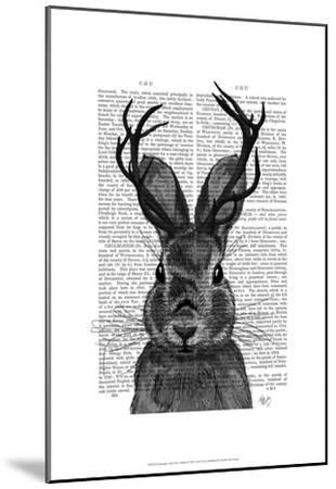 Jackalope with Grey Antlers-Fab Funky-Mounted Art Print