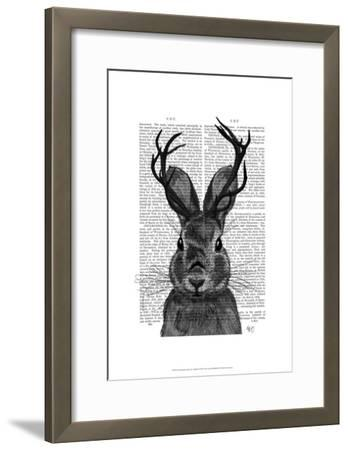 Jackalope with Grey Antlers-Fab Funky-Framed Art Print