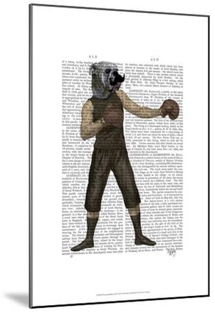 Boxing Bulldog Full-Fab Funky-Mounted Art Print