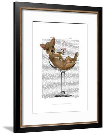 Chihuahua in Cocktail Glass-Fab Funky-Framed Art Print