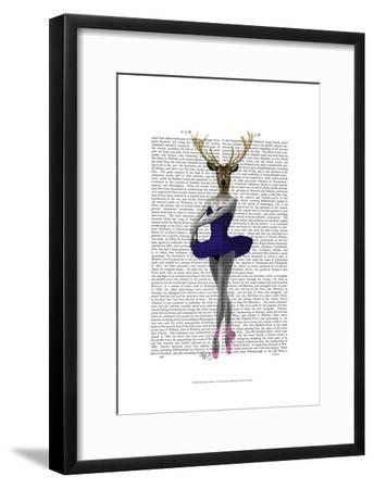 Ballet Deer in Blue-Fab Funky-Framed Art Print