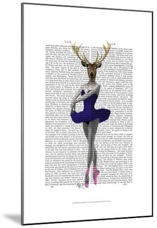 Ballet Deer in Blue-Fab Funky-Mounted Art Print
