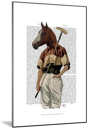 Polo Horse Portrait-Fab Funky-Mounted Art Print