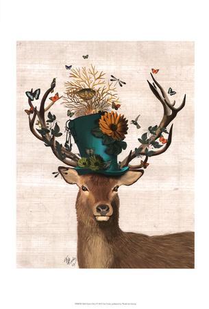 Mad Hatter Deer-Fab Funky-Art Print
