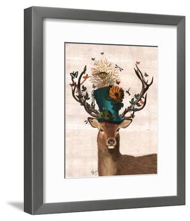 Mad Hatter Deer-Fab Funky-Framed Art Print