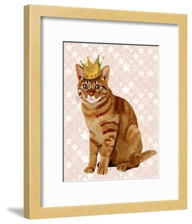 Ginger Cat with Crown Full-Fab Funky-Framed Art Print