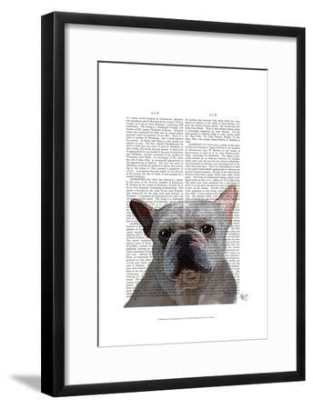 White French Bulldog Plain-Fab Funky-Framed Art Print