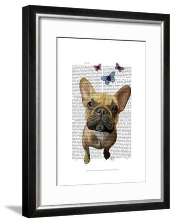 Brown French Bulldog and Butterflies-Fab Funky-Framed Art Print