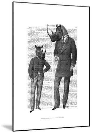 Rhinos Fathers Day-Fab Funky-Mounted Art Print