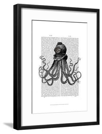 Octopus and Diving Helmet-Fab Funky-Framed Art Print