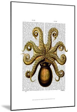 Vintage Yellow Octopus Underside-Fab Funky-Mounted Art Print