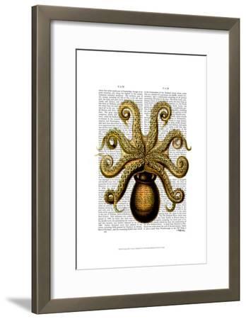 Vintage Yellow Octopus Underside-Fab Funky-Framed Art Print
