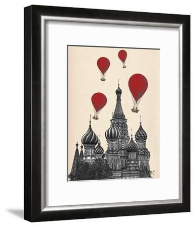 St Basil's Cathedral and Red Hot Air Balloons-Fab Funky-Framed Art Print