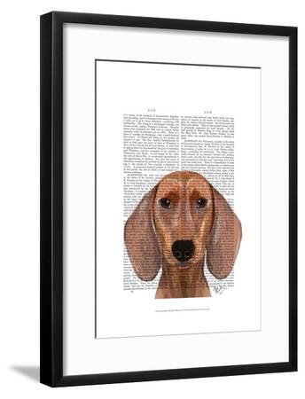 Dachshund Illustration Plain-Fab Funky-Framed Art Print