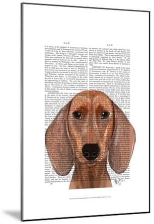 Dachshund Illustration Plain-Fab Funky-Mounted Art Print