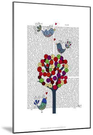 Button Tree and Birds Blue-Fab Funky-Mounted Art Print