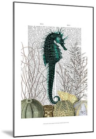 SeaHorse and Sea Urchins-Fab Funky-Mounted Art Print