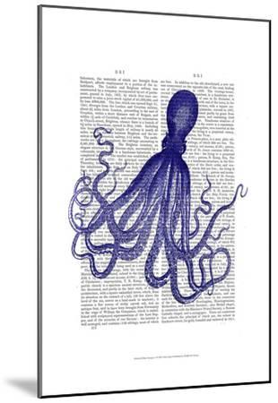 Blue Octopus 4-Fab Funky-Mounted Art Print