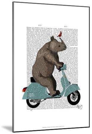 Rhino on Moped-Fab Funky-Mounted Art Print