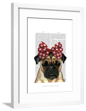Pug with Red Spotty Bow On Head-Fab Funky-Framed Art Print