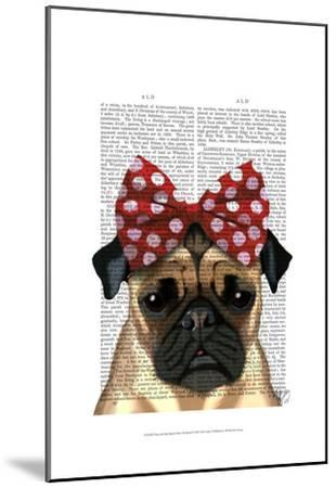 Pug with Red Spotty Bow On Head-Fab Funky-Mounted Art Print