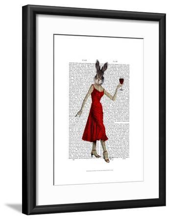 Rabbit in Red Dress-Fab Funky-Framed Art Print