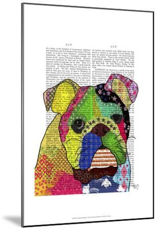 Patchwork Bulldog-Fab Funky-Mounted Art Print
