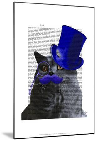 Grey Cat With Blue Top Hat and Blue Moustache-Fab Funky-Mounted Art Print