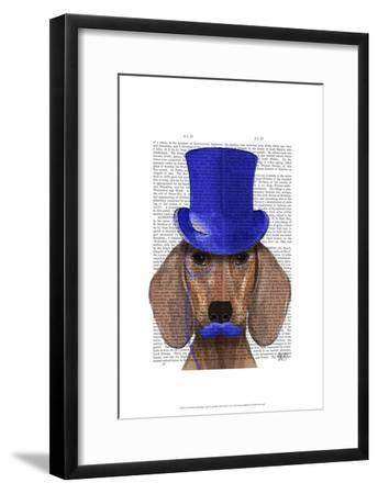 Dachshund With Blue Top Hat and Blue Moustache-Fab Funky-Framed Art Print