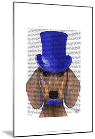 Dachshund With Blue Top Hat and Blue Moustache-Fab Funky-Mounted Art Print