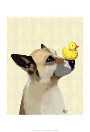 Dog and Duck-Fab Funky-Framed Art Print