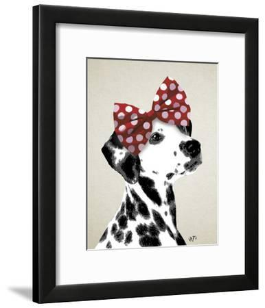 Dalmatian With Red Bow-Fab Funky-Framed Art Print