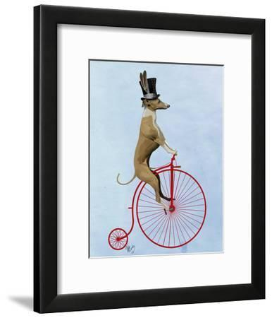 Greyhound on Red Penny Farthing-Fab Funky-Framed Art Print