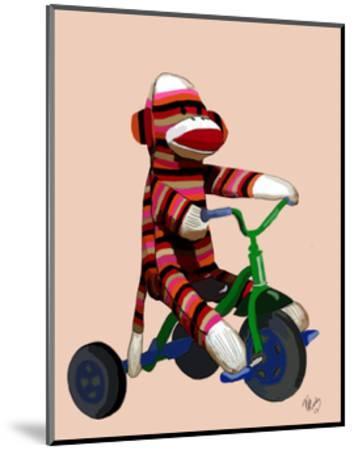 Sock Monkey Tricycle-Fab Funky-Mounted Art Print