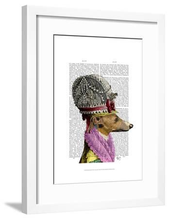Greyhound in 16th Century Hat-Fab Funky-Framed Art Print