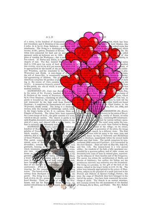Boston Terrier And Balloons-Fab Funky-Framed Art Print