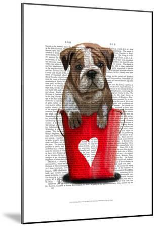 Bulldog Bucket Of Love Red-Fab Funky-Mounted Art Print