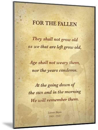 Ode of Remembrance-Laurence Binyon-Mounted Art Print