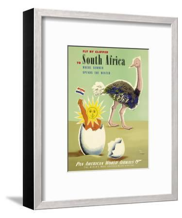 Fly by Clipper to South Africa - Where Summer Spends the Winter - Pan American World Airways-Jean Carlu-Framed Art Print