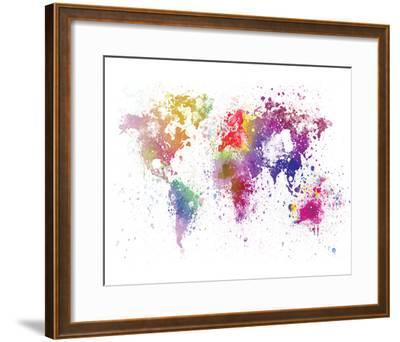 World Map I Watercolor--Framed Art Print