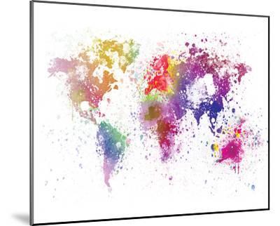 World Map I Watercolor--Mounted Art Print