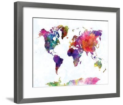 World Map II Watercolor--Framed Art Print