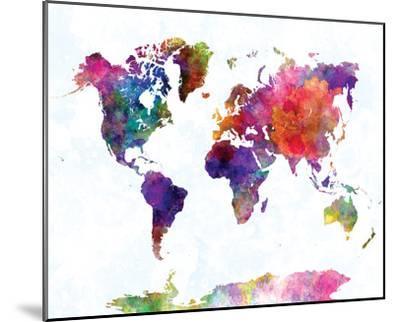 World Map II Watercolor--Mounted Art Print