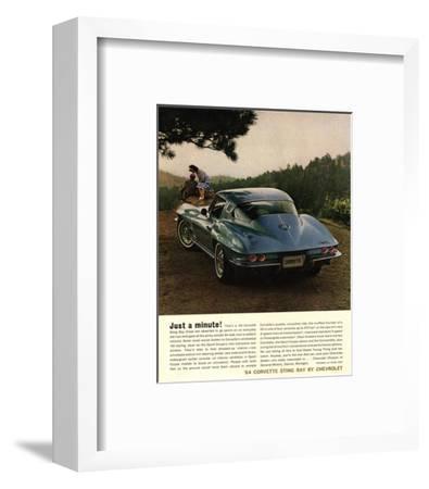 1964 Corvette - Just a Minute--Framed Art Print