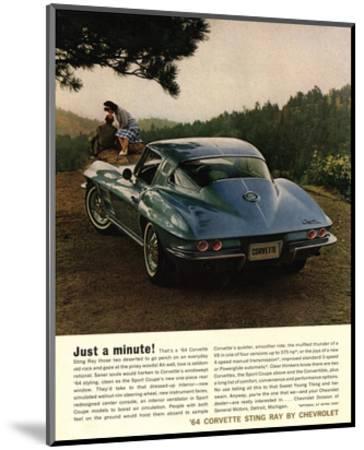 1964 Corvette - Just a Minute--Mounted Art Print