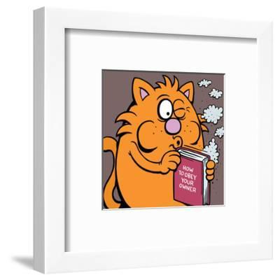 How To Obey Your Owner Manual - Antony Smith Learn To Speak Cat Cartoon Print-Antony Smith-Framed Art Print