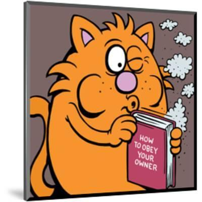 How To Obey Your Owner Manual - Antony Smith Learn To Speak Cat Cartoon Print-Antony Smith-Mounted Art Print